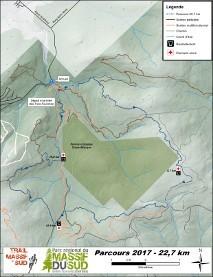 carte parcours course 22,7 km