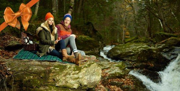 couple cascade automne Parc régional du Massif du Sud