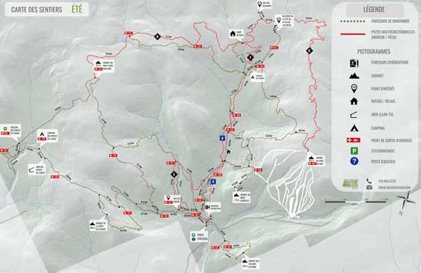 Carte été Parc régional du Massif du Sud