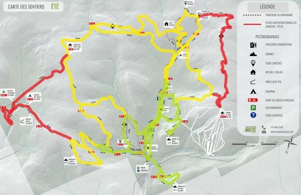 carte des sentiers ouverts en période de chasse