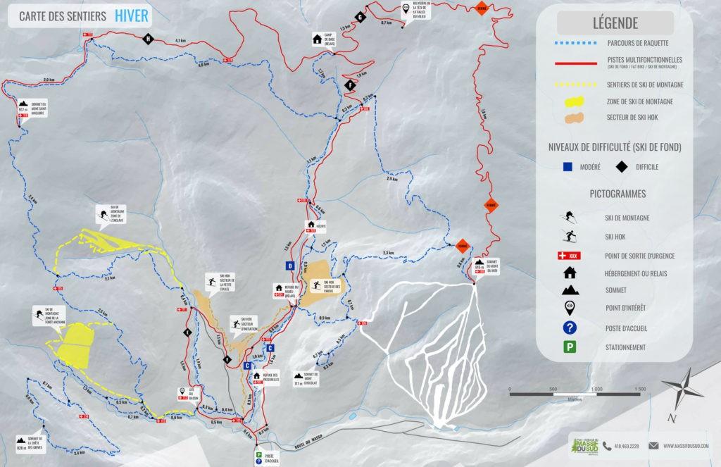 Carte hivernale du Parc régional du Massif du Sud