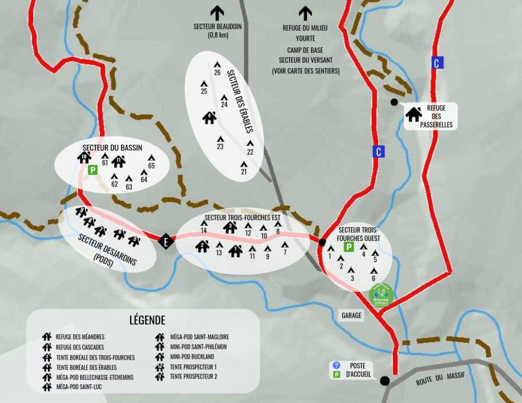 Carte des campings et hébergements situés à 1 km ou moins du pavillon d'accueil