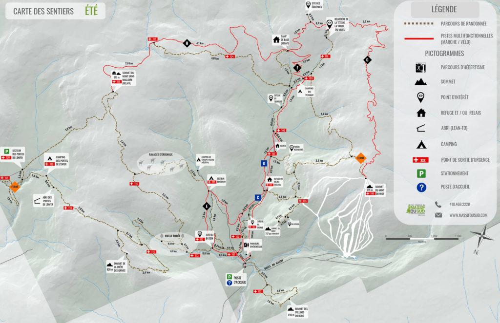 Carte estivale du Parc régional du Massif du Sud