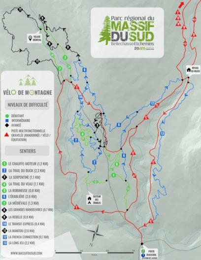 Carte des sentiers de vélo de montagne