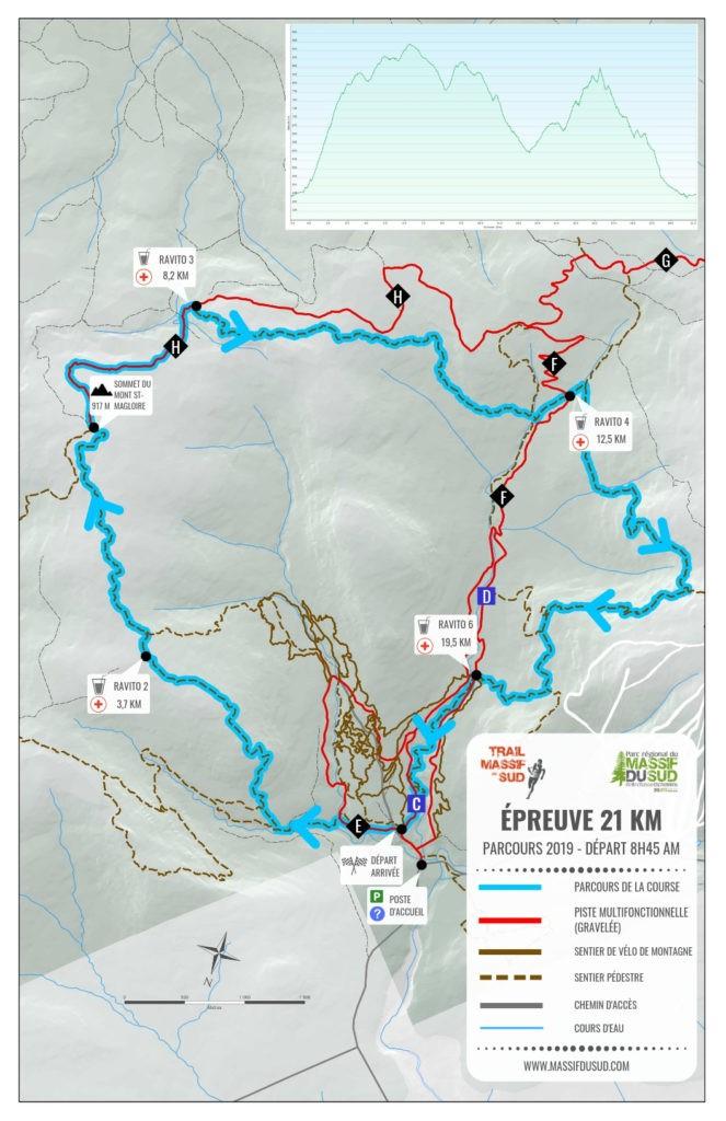Carte épreuve 21 km